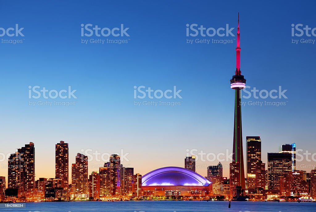 Colorful Toronto Cityscape at Sunset stock photo