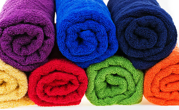 Colorful towels, cotton terry stock photo