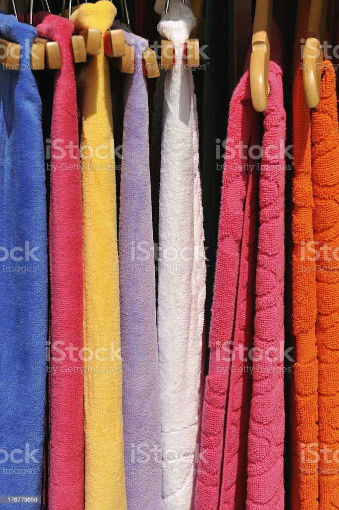 Colorful towels on sale royalty-free stock photo