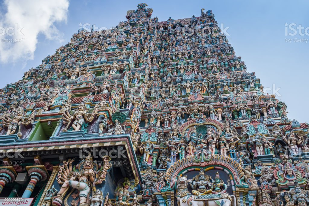 Colorful tower of Meenakshi Amman Temple stock photo
