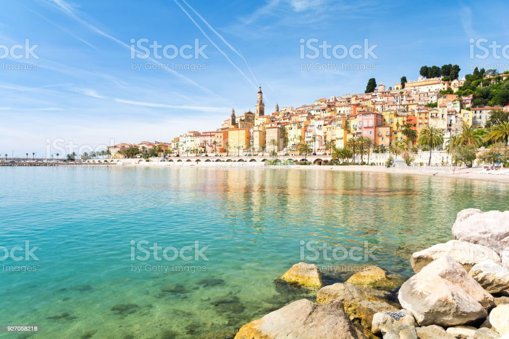 Colorful town Menton on french riviera, south France Beautiful town on french riviera Architecture Stock Photo