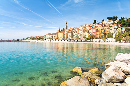 Colorful Town Menton On French Riviera South France Stock Photo - Download Image Now