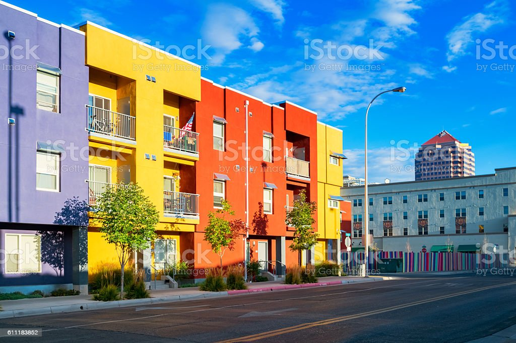 Colorful Townhomes in Downtown Albuquerque New Mexico USA stock photo