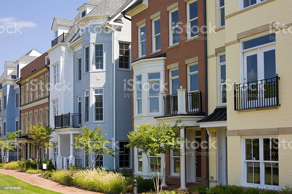Colorful Townhouses From Richmond, Virginia stock photo