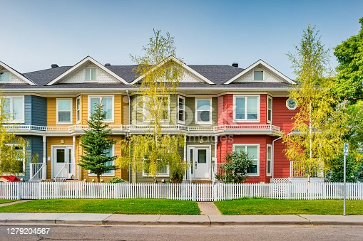 istock Colorful townhouses in Calgary Alberta Canada 1279204567