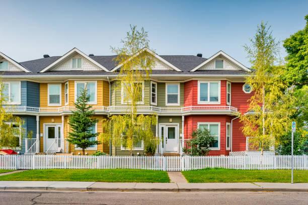 Colorful townhouses in Calgary Alberta Canada stock photo