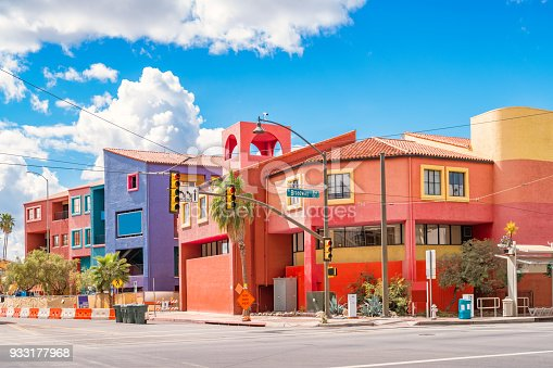 Colorful townhouses on Broadway boulevard in downtown Tucson Arizona USA.