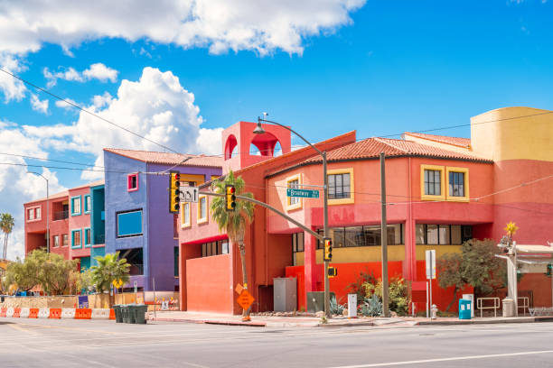 Colorful townhouses in downtown Tucson Arizona Colorful townhouses on Broadway boulevard in downtown Tucson Arizona USA. tucson stock pictures, royalty-free photos & images