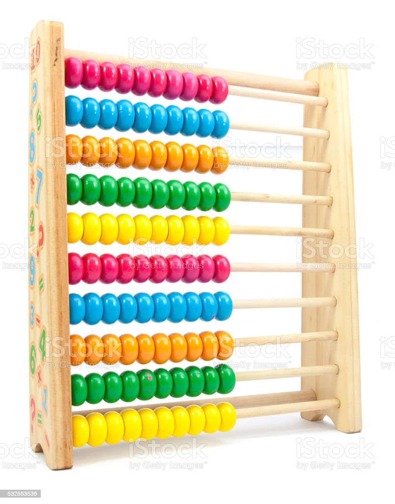 colorful toy abacus to learn counting stock photo
