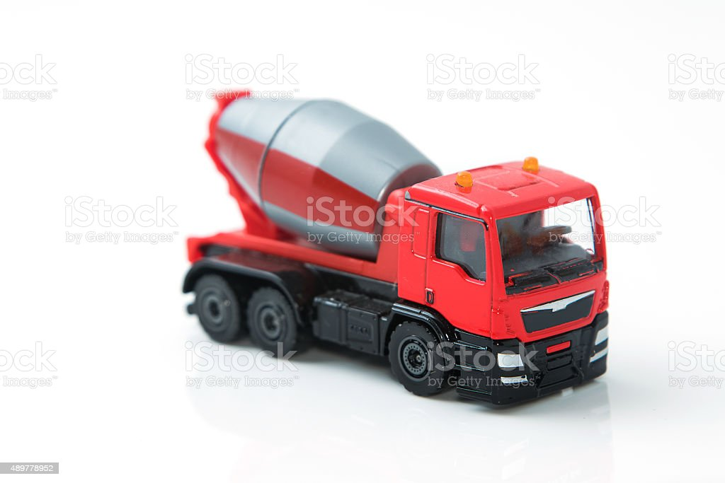 Colorful toy truck isolated on white background stock photo
