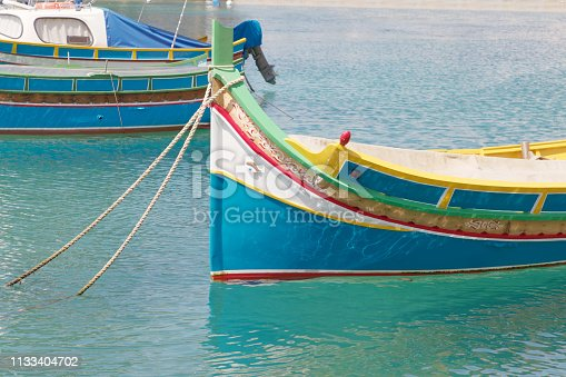 istock Colorful traditional fishing boats in the harbor in Malta, Valetta 1133404702