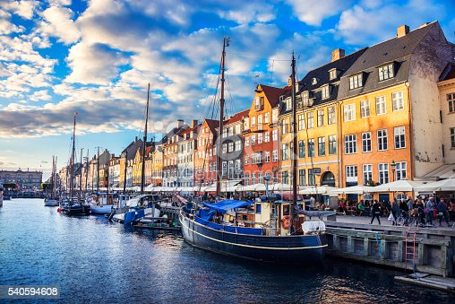 Colorful Traditional Houses in Copenhagen old Town at Sunset, Nyhavn, Copenhagen, Denmark