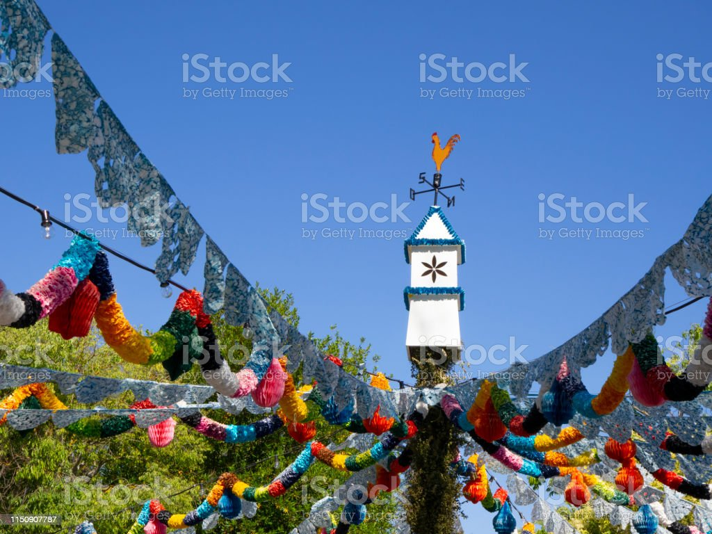 Colorful traditional party decorations in the streets of Portugal....