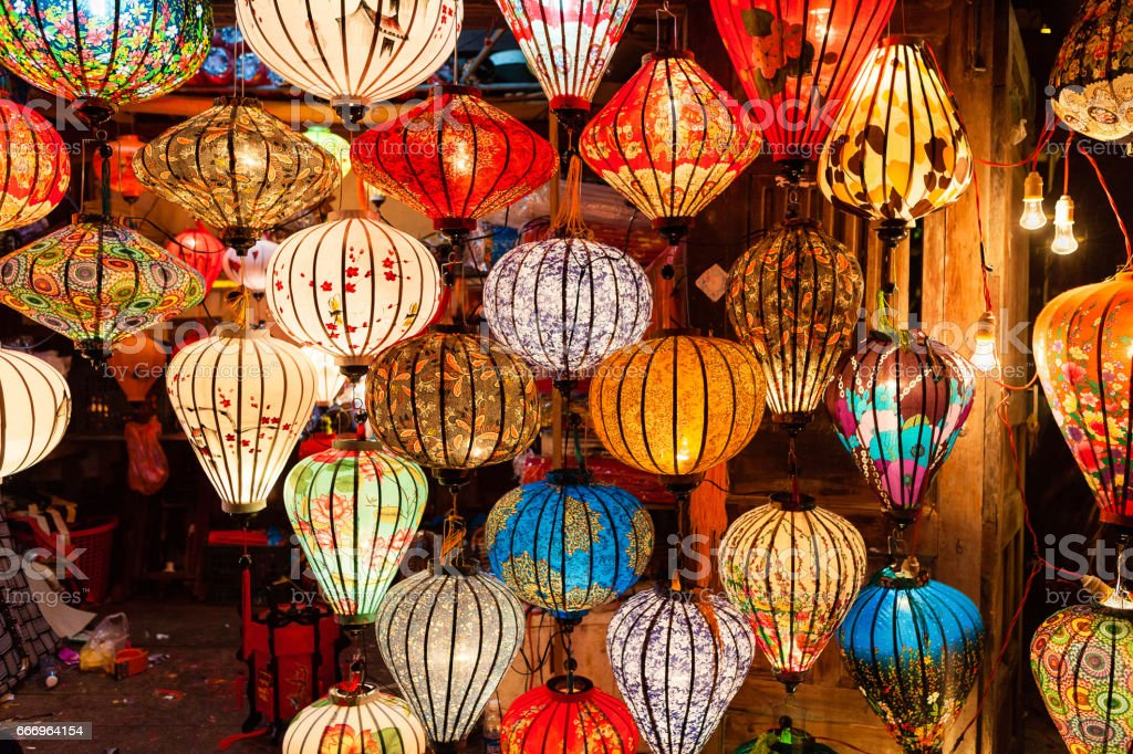 Colorful traditional Vietnam lanterns stock photo