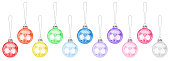 istock Colorful transparent glass balls hanging on thread set white background isolated closeup, Сhristmas tree decoration collection, shiny round bauble traditional new year holiday design element, xmas toy 1261532816