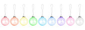 istock Colorful transparent glass balls hanging on thread set white background isolated closeup, Сhristmas tree decoration collection, shiny round bauble traditional new year holiday design element, xmas toy 1262584937