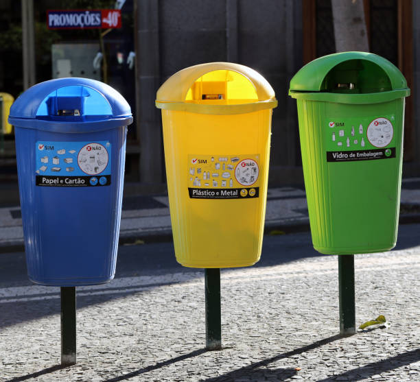 Colorful Trash Cans in Funchal, Madeira stock photo