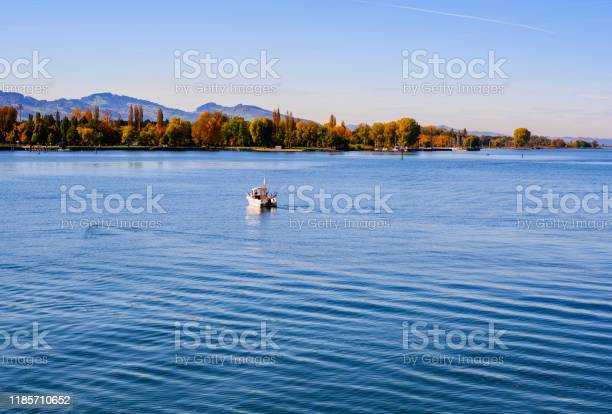 Photo of Colorful trees in Bregenz, lake Constance and fisherman boat.