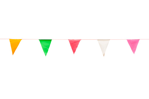 colorful triangle flags on white background for decoration of party
