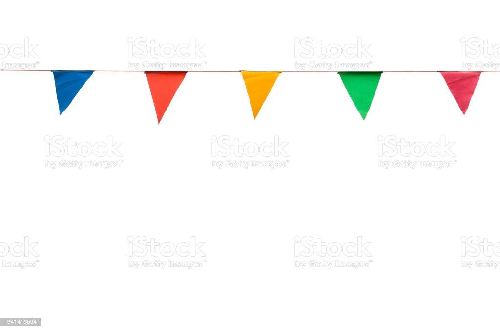 banderas del triángulo colorido sobre fondo blanco para la decoración del partido - foto de stock