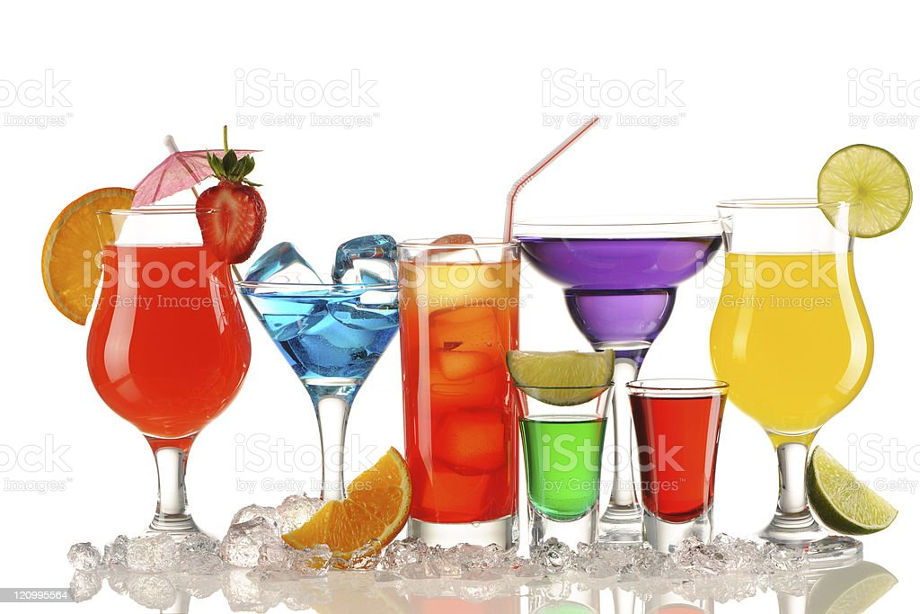 Colorful tropical cocktails on white background royalty-free stock photo