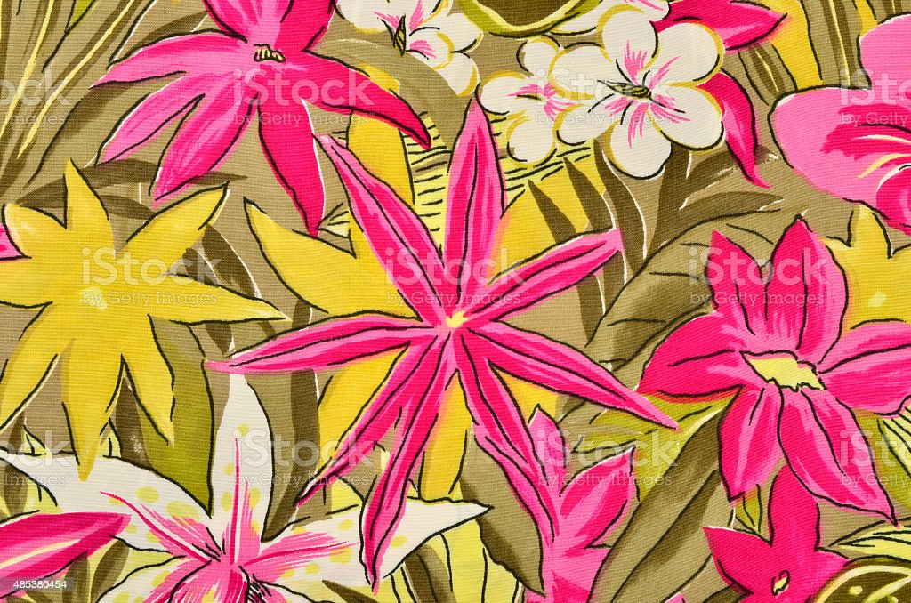 Colorful tropical floral pattern on fabric. stock photo