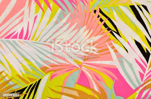 istock Colorful tropical leaves pattern on fabric. 485380684