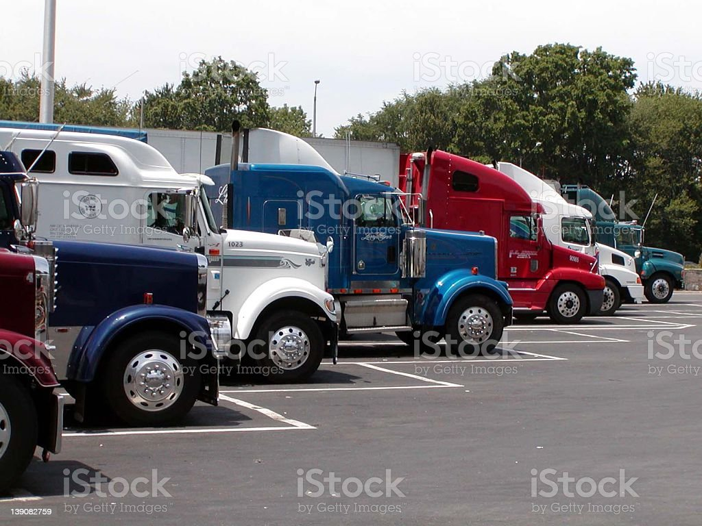 Colorful Trucks at Truck Stop stock photo
