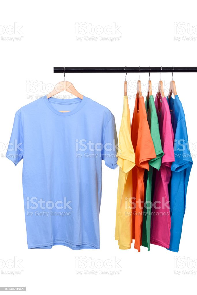 Colorful t-shirt on hanger stock photo