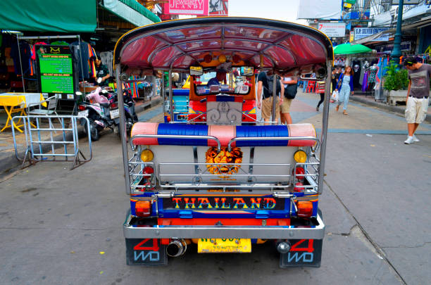 Colorful tuk tuk on Khao San Road in Bangkok stock photo