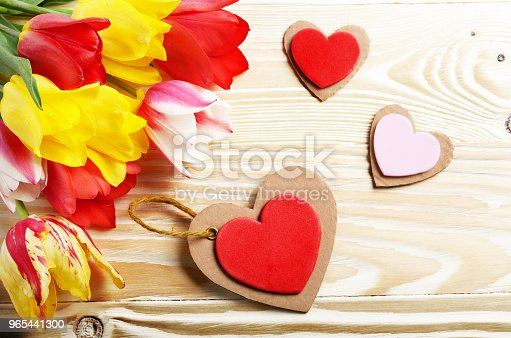 Colorful Tulip Flowers And Heart Shape Cards On Wooden Table Background With Space For Text Stock Photo & More Pictures of Beauty