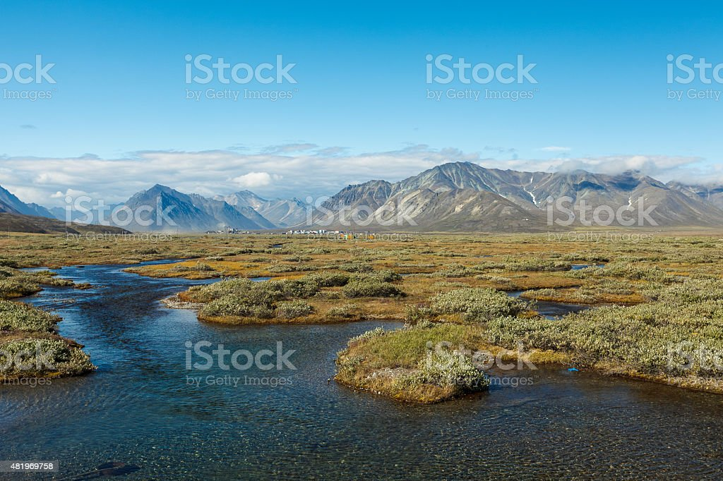 Colorful tundra in front of the river and mountains, Russia stock photo
