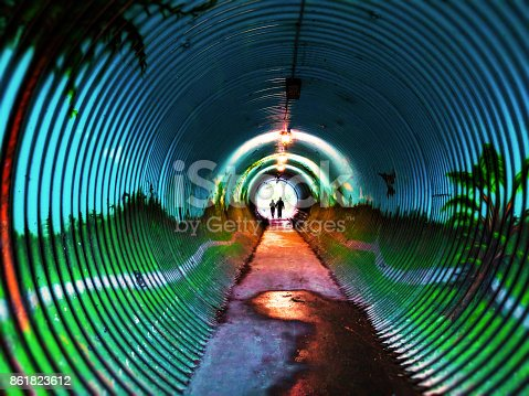 This bright and colorful tunnel is a great place to walk through.