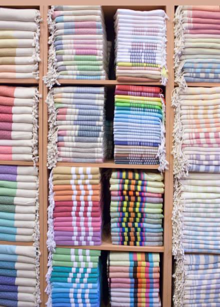 Colorful Turkish Bath Towels known as Hamam Pestemal stock photo