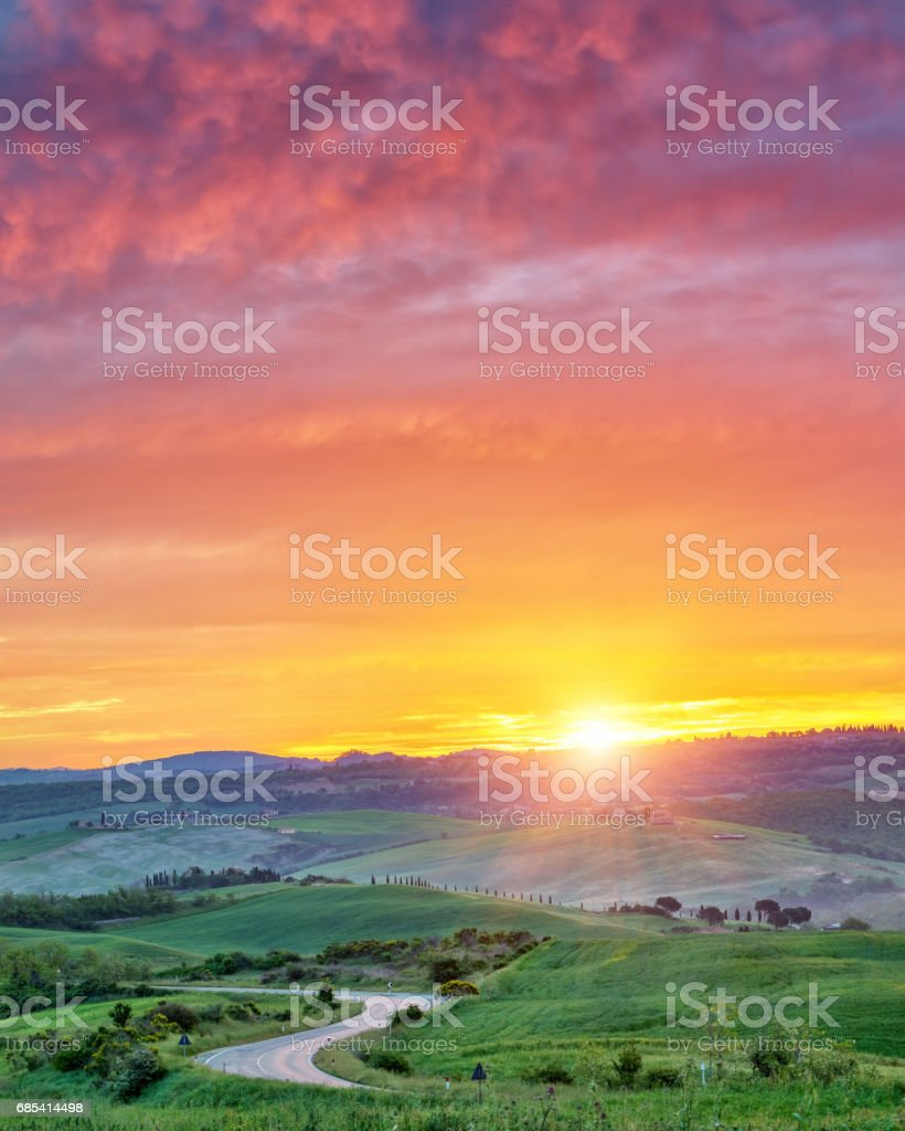 Colorful Tuscany sunrise royalty-free stock photo