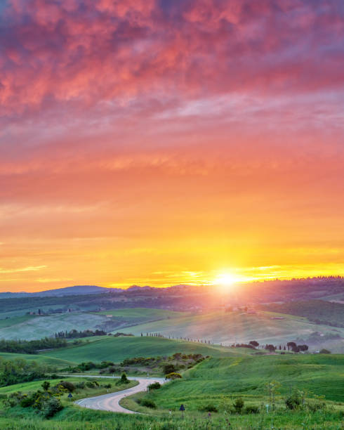 Colorful Tuscany sunrise stock photo