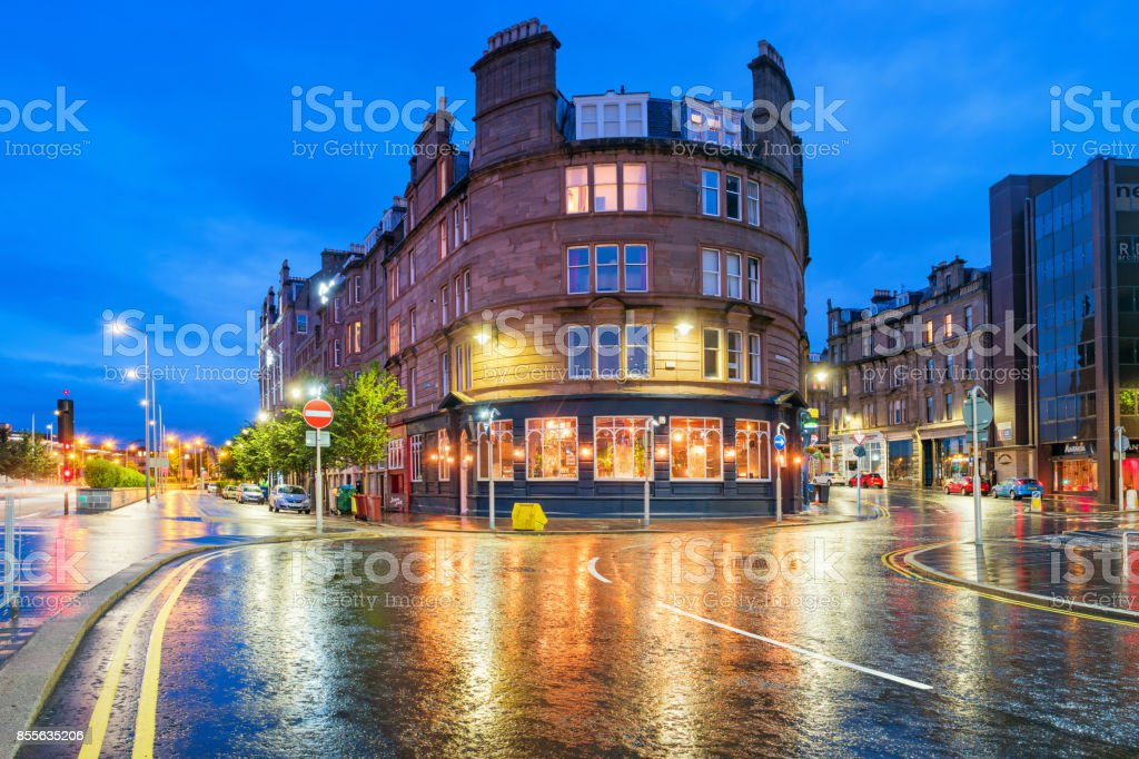 Colorful twilight in downtown Dundee Scotland UK stock photo
