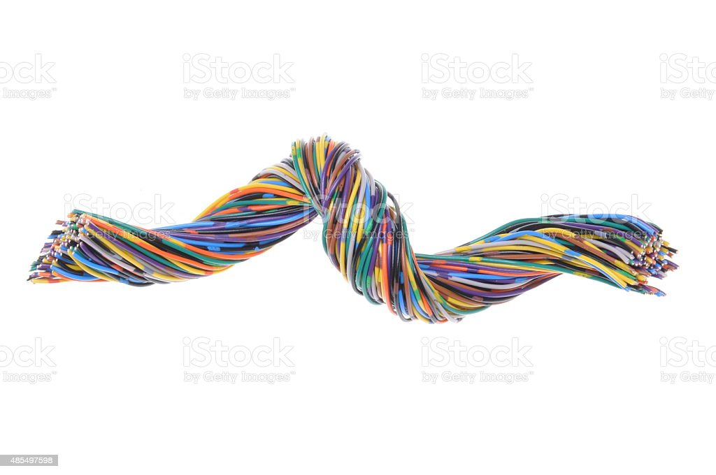 Colorful twisted wires stock photo