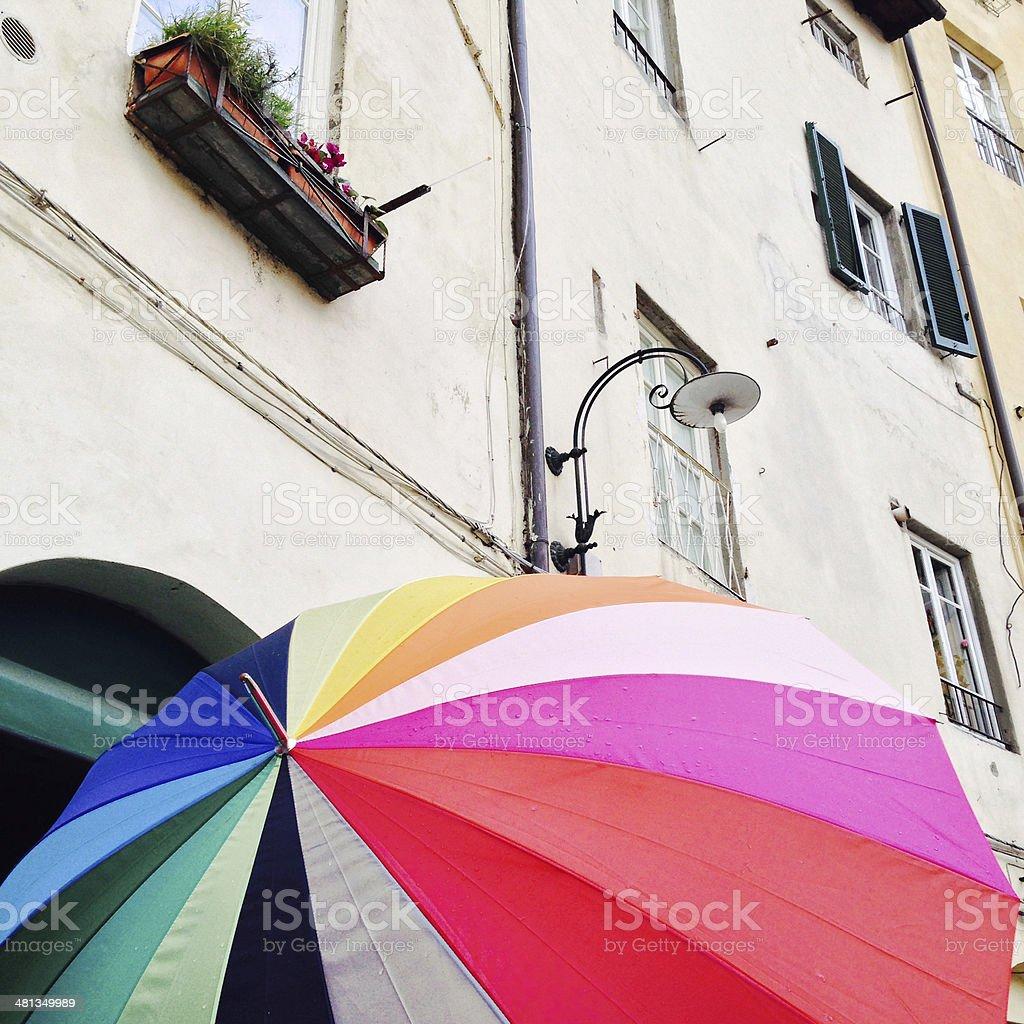 Colorful umbrella in Lucca (Piazza dell'Anfiteatro) stock photo