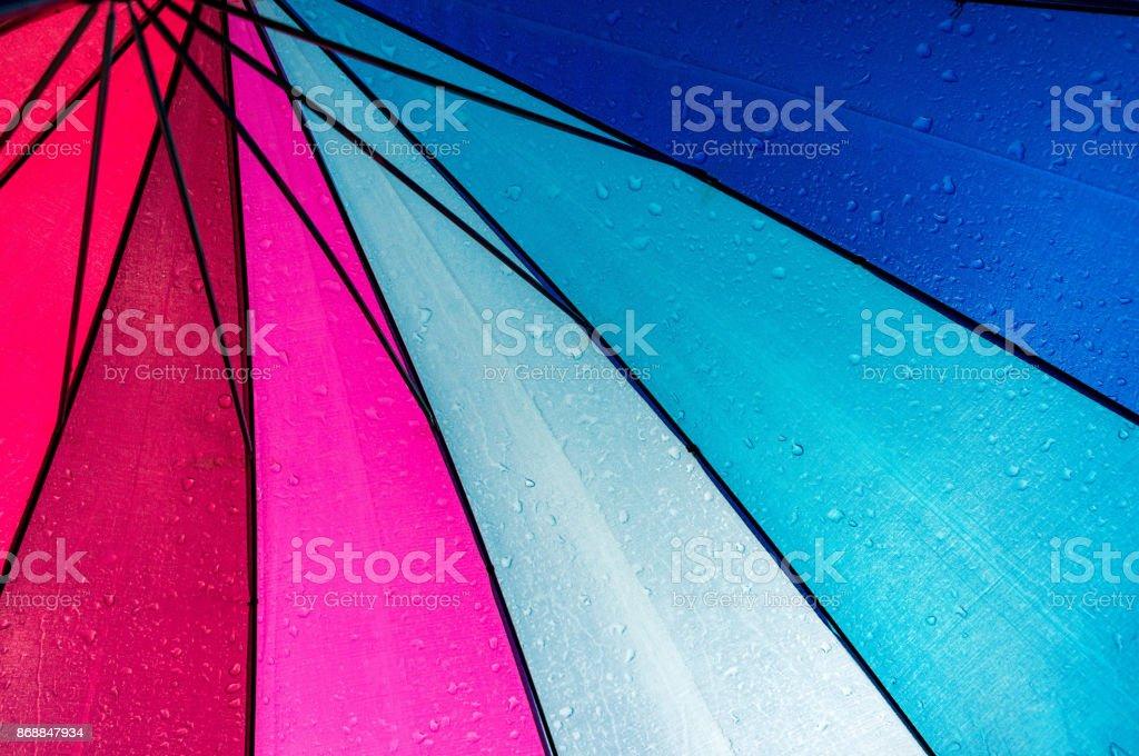 Colorful umbrella inside stock photo