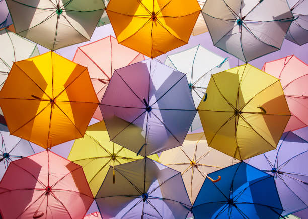 colorful umbrellas. color umbrellas urban decoration. stock photo