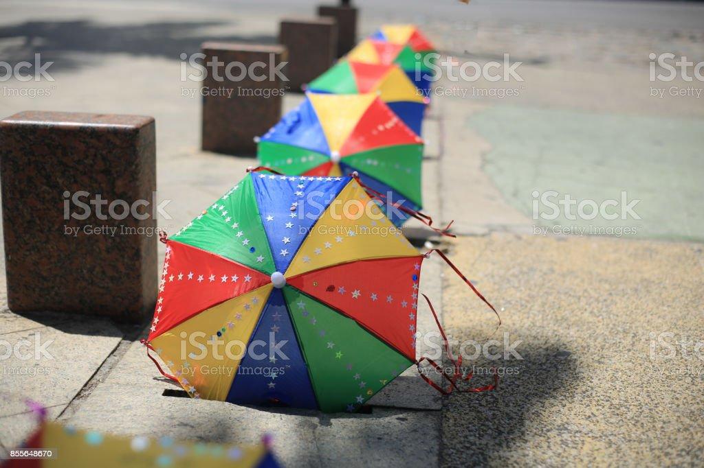 Colorful umbrellas from frevo Recife, Pernambuco, Brazil stock photo