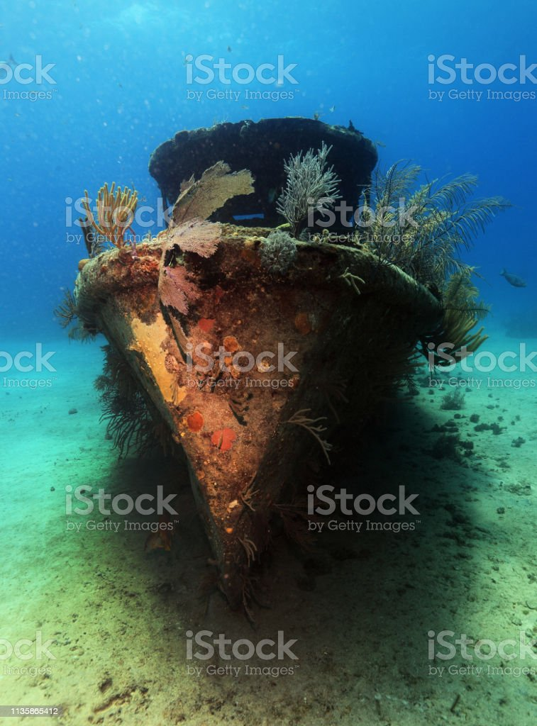 Colorful underwater ship wreck stock photo