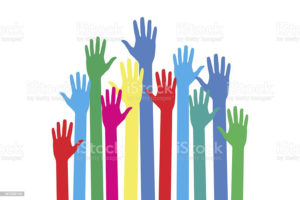Colorful Up Hands on White Background stock photo