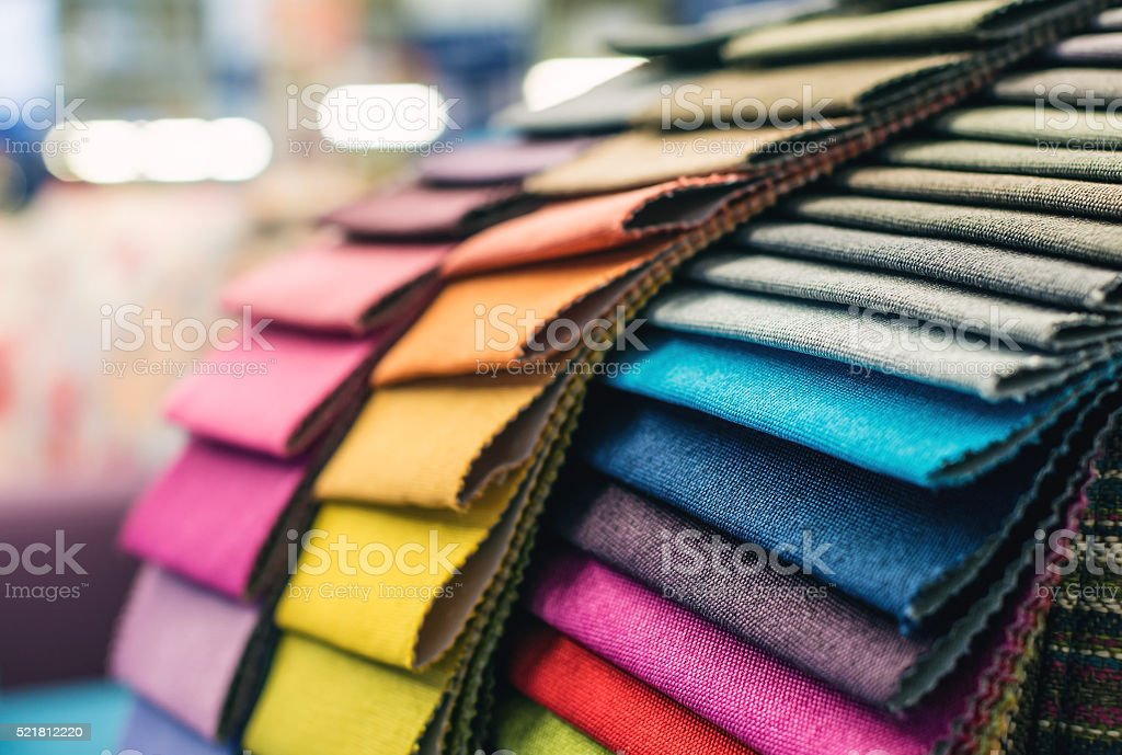 Colorful upholstery fabric samples stock photo