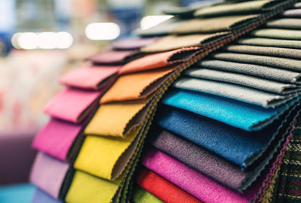 colorful upholstery fabric samples - textile stock photos and pictures