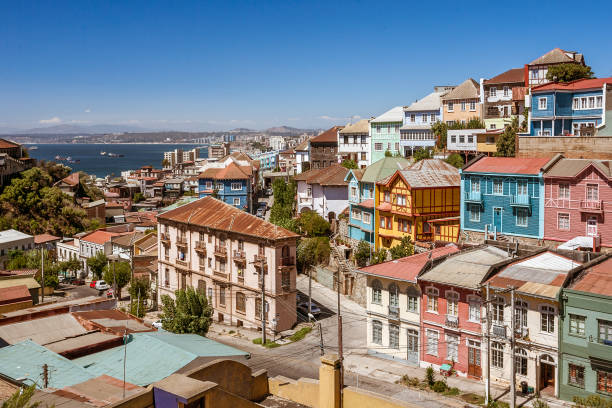 Colorful Valparaiso Colored and steep neighborhood of Valparaiso, Chile chile stock pictures, royalty-free photos & images