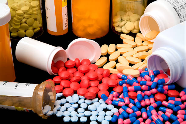 Colorful variety of pharmaceutical products stock photo