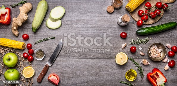 istock Colorful various organic farm vegetables place for text,frame, banner 502320140
