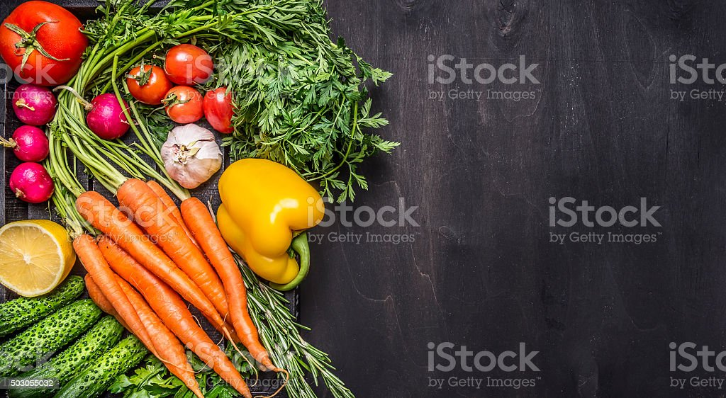 Colorful various organic farm vegetables  top view  border, place text stock photo